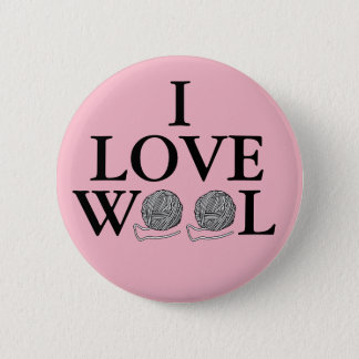 I Love Wool Badge Button