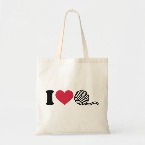 I love wool budget tote bag