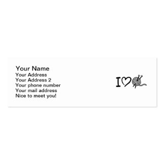 I love wool knitting needles Double-Sided mini business cards (Pack of 20)
