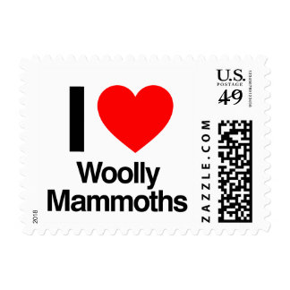 i love woolly mammoths.ai postage stamps