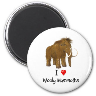 """""""I Love Wooly Mammoths"""" Wooly Mammoth 2 Inch Round Magnet"""