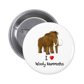 """""""I Love Wooly Mammoths"""" Wooly Mammoth Button"""