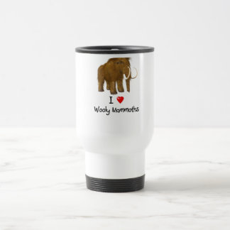 """I Love Wooly Mammoths"" Wooly Mammoth 15 Oz Stainless Steel Travel Mug"