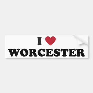 I Love Worcester Massachusetts Bumper Sticker
