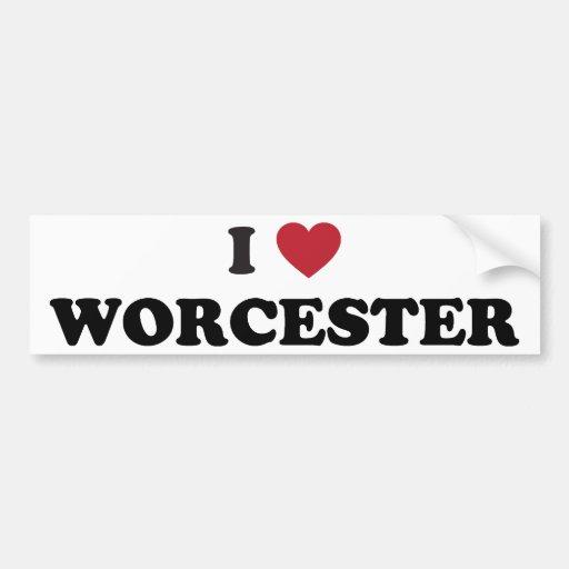 I Love Worcester Massachusetts Bumper Sticker