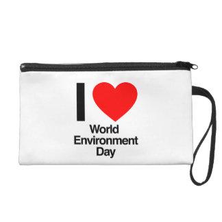 i love world environment day wristlet clutch