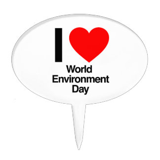 i love world environment day cake toppers