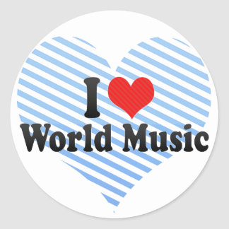 I Love World Music Classic Round Sticker