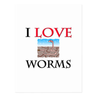 I Love Worms Postcard