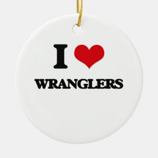 I love Wranglers Double-Sided Ceramic Round Christmas Ornament