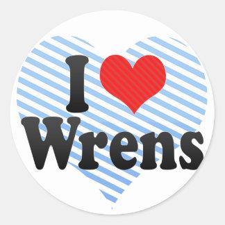 I Love Wrens Classic Round Sticker