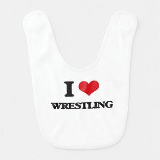 I Love Wrestling Bib