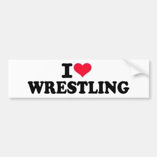 I love wrestling car bumper sticker
