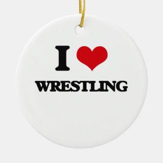 I Love Wrestling Ceramic Ornament