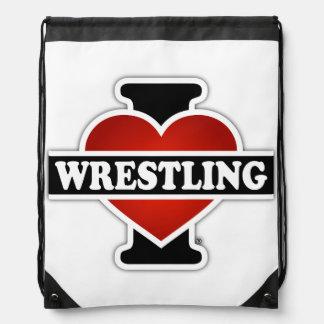 I Love Wrestling Drawstring Bag