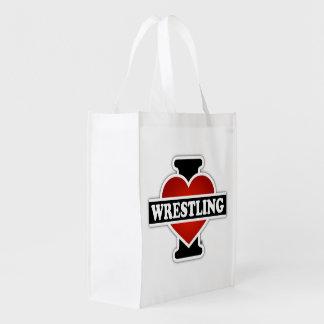 I Love Wrestling Grocery Bag