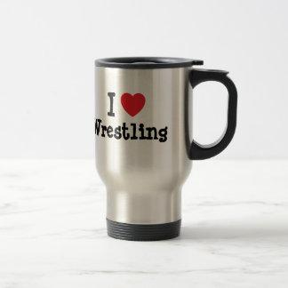 I love Wrestling heart custom personalized 15 Oz Stainless Steel Travel Mug