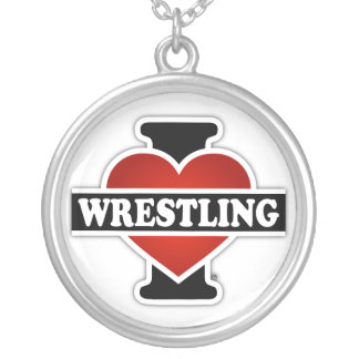 I Love Wrestling Silver Plated Necklace