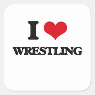 I Love Wrestling Square Stickers