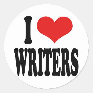 I Love Writers Classic Round Sticker