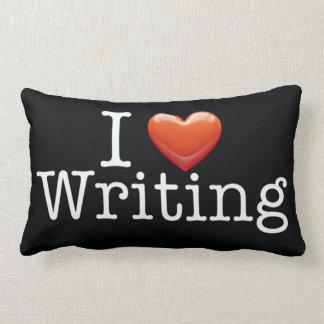 I Love Writing Black Lumbar Pillow