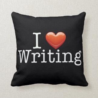 I Love Writing Black Throw Pillow