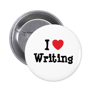 I love Writing heart custom personalized 2 Inch Round Button