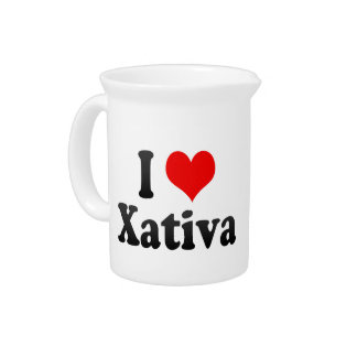 I Love Xativa, Spain. Me Encanta Xativa, Spain Beverage Pitcher