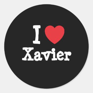 I love Xavier heart custom personalized Round Stickers