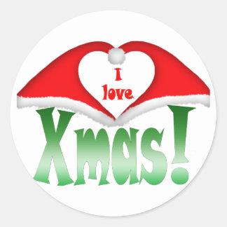 I love Xmas! 2 Xmas forming a heart Classic Round Sticker