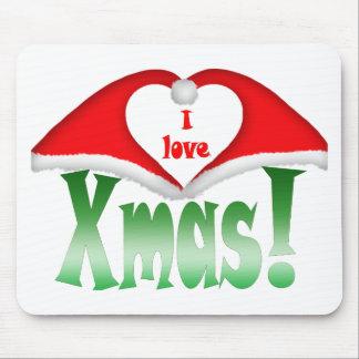 I love Xmas! 2 Xmas forming a heart Mouse Pad