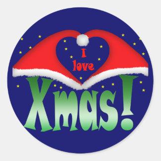I love Xmas at night with stars Classic Round Sticker