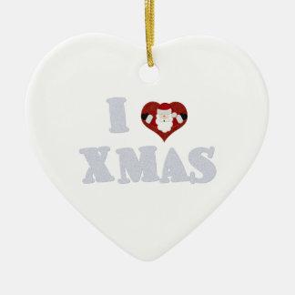 I Love Xmas Ceramic Ornament