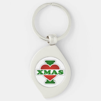 I Love Xmas Silver-Colored Swirl Metal Keychain