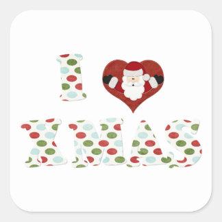I Love Xmas Square Sticker