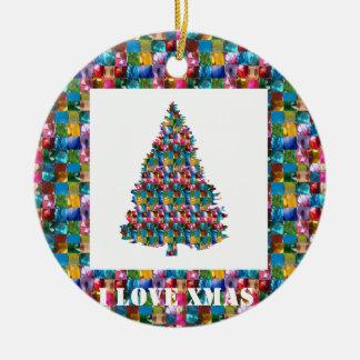 I LOVE XMAS : TREE jadded with PEARL JEWEL GEMS Double-Sided Ceramic Round Christmas Ornament