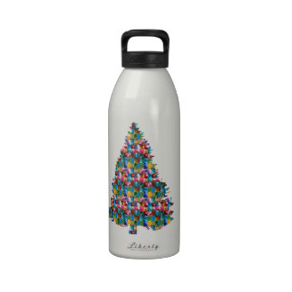 I LOVE XMAS : TREE jadded with PEARL JEWEL GEMS Reusable Water Bottle