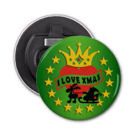 I LOVE Xmas   your background Button Bottle Opener