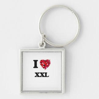 I love Xxl Silver-Colored Square Keychain
