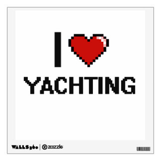 I Love Yachting Digital Retro Design Wall Decals