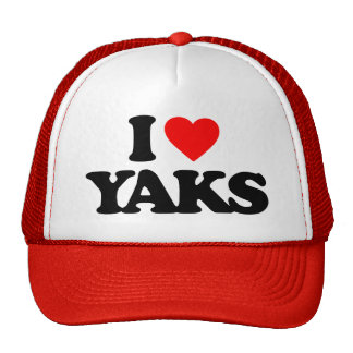 I LOVE YAKS TRUCKER HAT