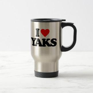 I LOVE YAKS 15 OZ STAINLESS STEEL TRAVEL MUG