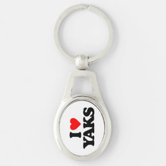 I LOVE YAKS Silver-Colored OVAL METAL KEYCHAIN