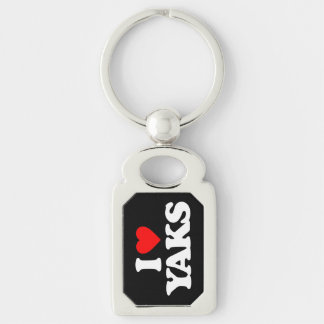 I LOVE YAKS Silver-Colored RECTANGULAR METAL KEYCHAIN