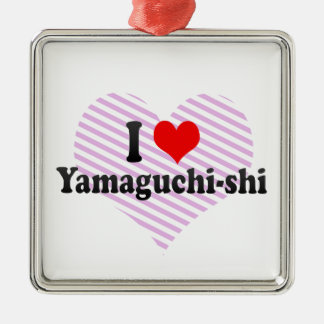 I Love Yamaguchi-shi, Japan Square Metal Christmas Ornament