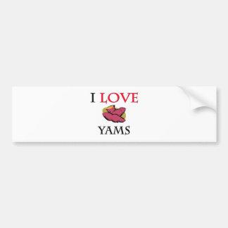 I Love Yams Car Bumper Sticker