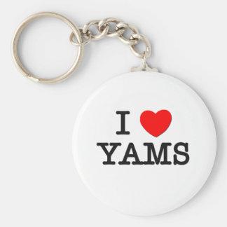 I Love YAMS ( food ) Basic Round Button Keychain