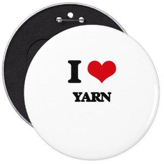 I love Yarn 6 Inch Round Button