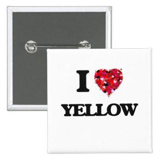 I love Yellow 2 Inch Square Button