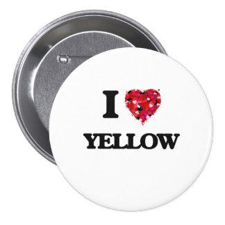 I love Yellow 3 Inch Round Button